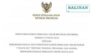 Download PKPU RI Nomor 32 Tahun 2018