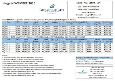 harga-bukit-Magnolia-citra-indah-city-november-2016