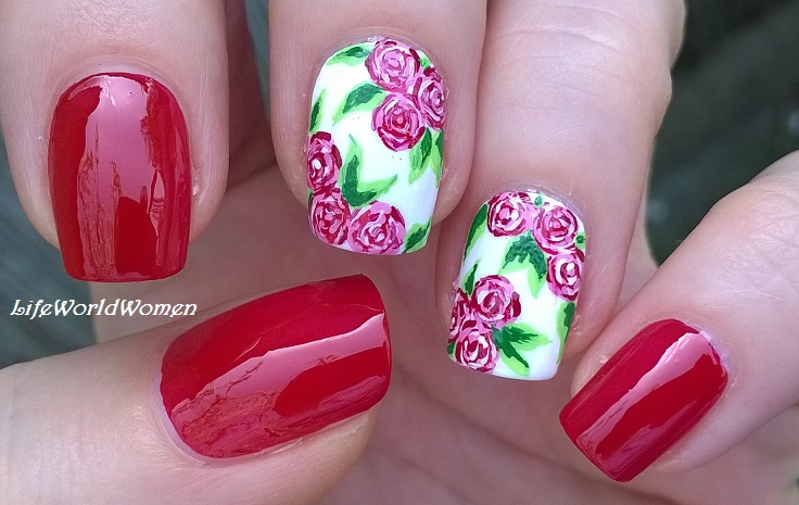 Life World Women Red Rose Nail Art Acrylic Paint Floral Nails