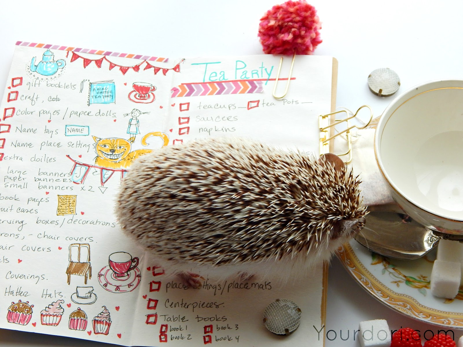 Cute Hedgehog, Tea Party Planning, Alice In Wonderland party, Tea Cup, Planners, Lists, List Making, Gold Bulldog Clips, Midori, Travelers Notebook