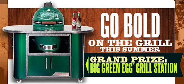 Tabasco wants you to go BOLD on the grill this summer and share your favorite summer grilling pictures with them on Twitter, Instagram or their Facebook to win a BIG GREEN EGG GRILLING STATION!