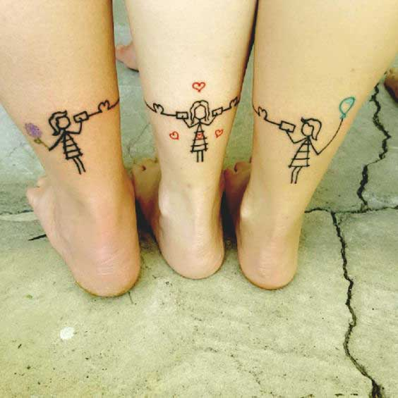 3 sister tattoo design and ideas for leg