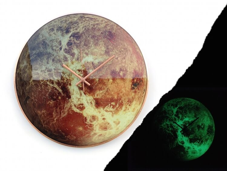 Artist Creates Wall Clocks That Glow In The Dark And Depict The Incredible Beauty Of The Solar System