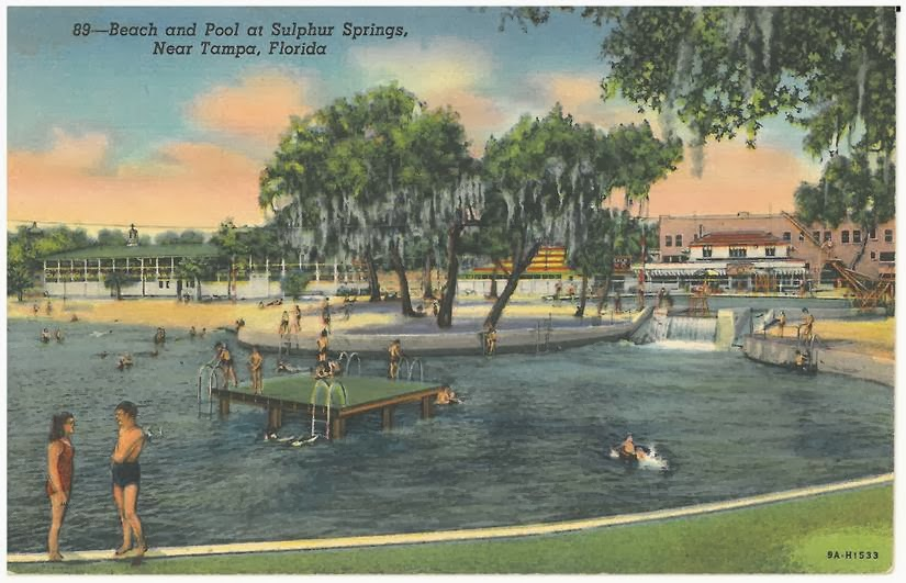 Beach and Pool Sulphur Springs Postcard