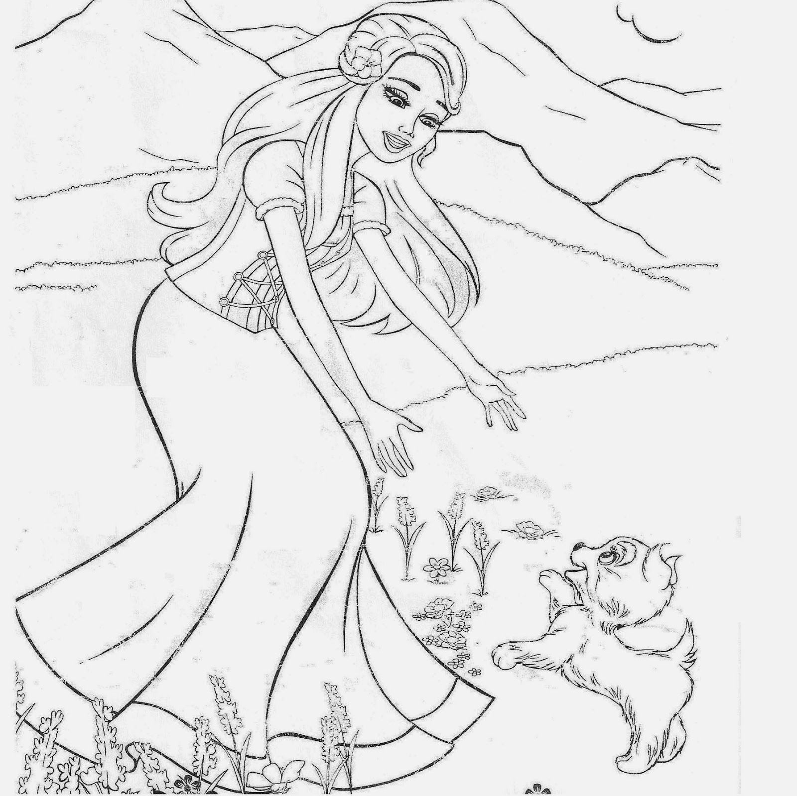 Barbie Drawing Beautiful Sketch Coloring Page