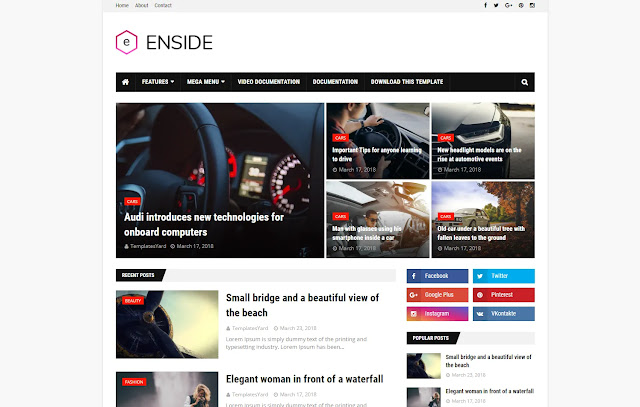 Enside Responsive Magazine News Tutorial Blogger Template Theme