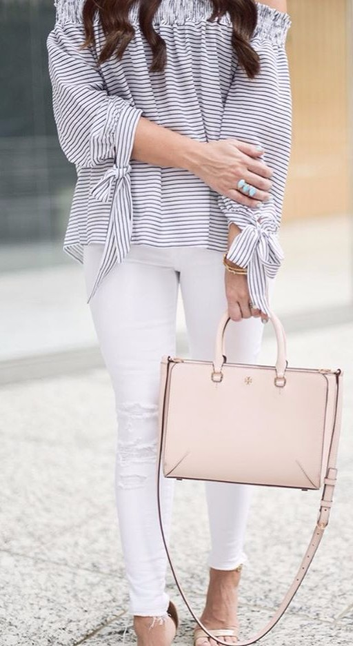 what to wear to the office: off-the-shoulder stripes + heels