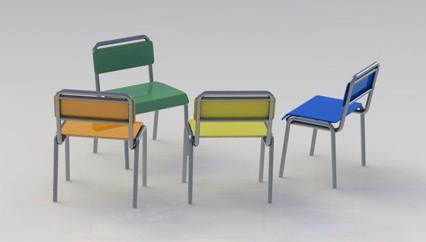 Perspectiva posterior de la composición de las 4 sillas