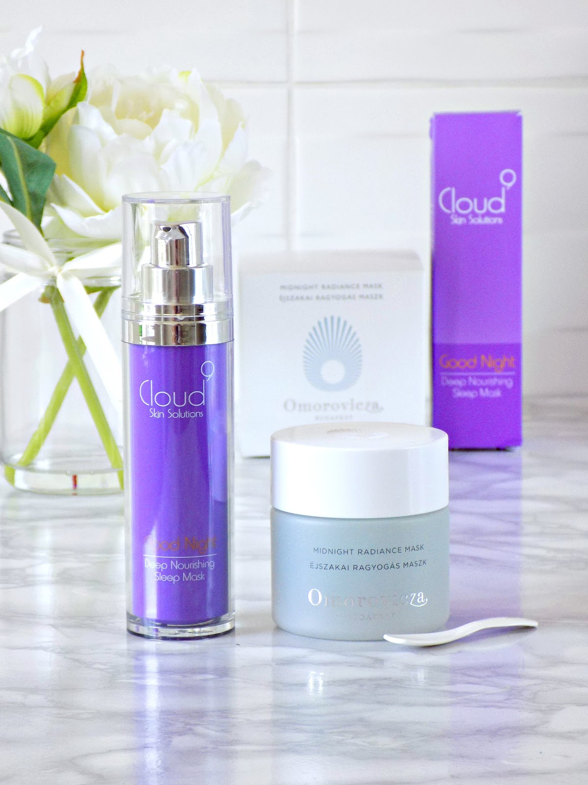 Cloud 9 Skin Solutions Good Night Deep Nourishing Sleep Mask and Omorovicza Midnight Radiance Mask