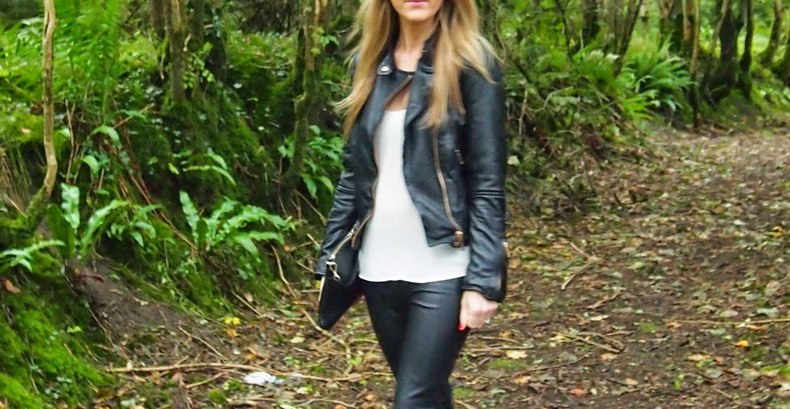 d222c6b9347fd Leather Biker Jacket  Zara A W14 Faux Leather Skinny Pants  Zara Silk Top   Topshop  Leather Clutch  Topshop Shoes   Louboutins
