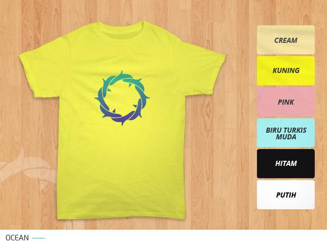 tampilan desain kaos mahkota duri ocean di kain berwarna kuning