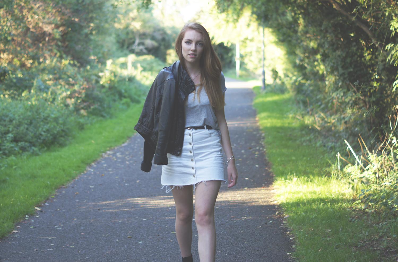 basic t shirt and leather jacket