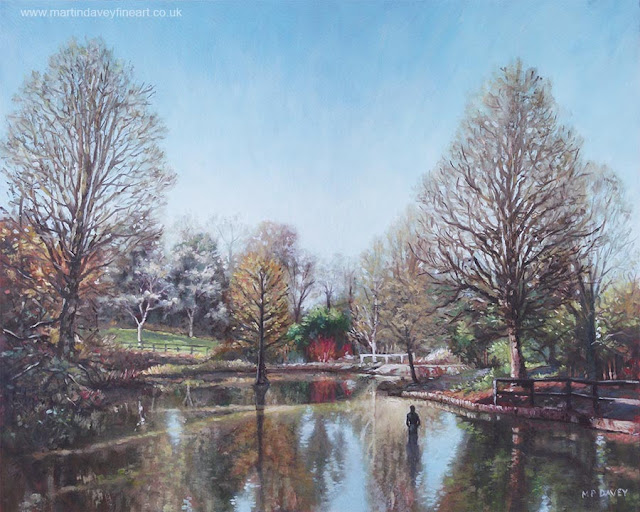 Artist Martin Davey lake at winter romsey hampshire