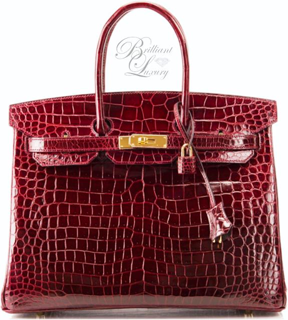 Brilliant Luxury ♦ Hermès Purple Bordeaux Porosus Crocodile Birkin Bag