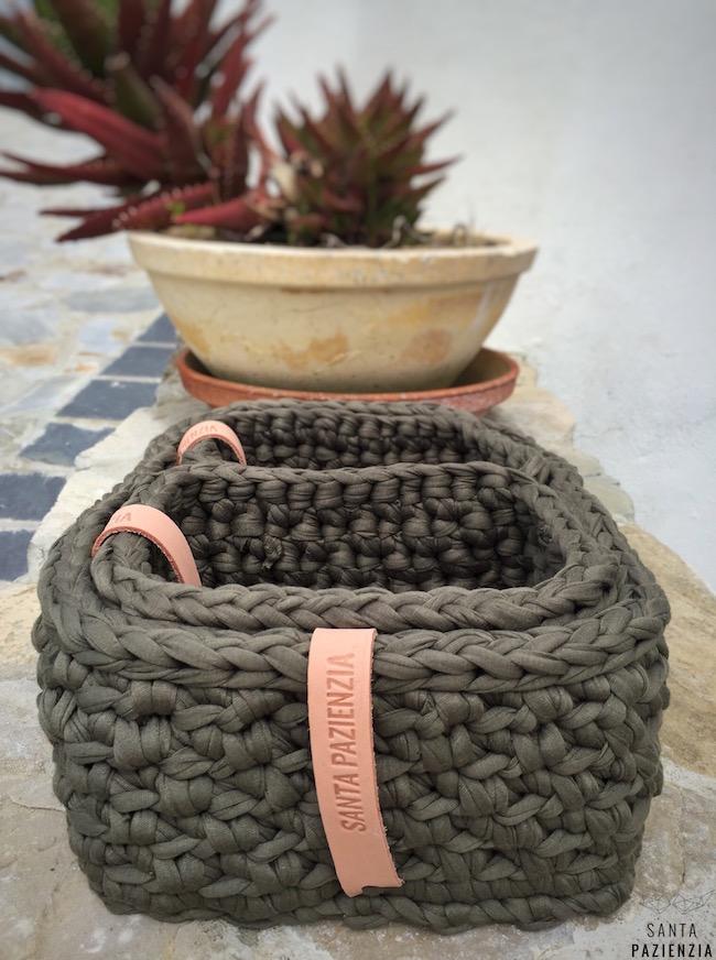 Conjunto de cestas rectangulares de trapillo santa pazienzia - Cestas de ganchillo ...
