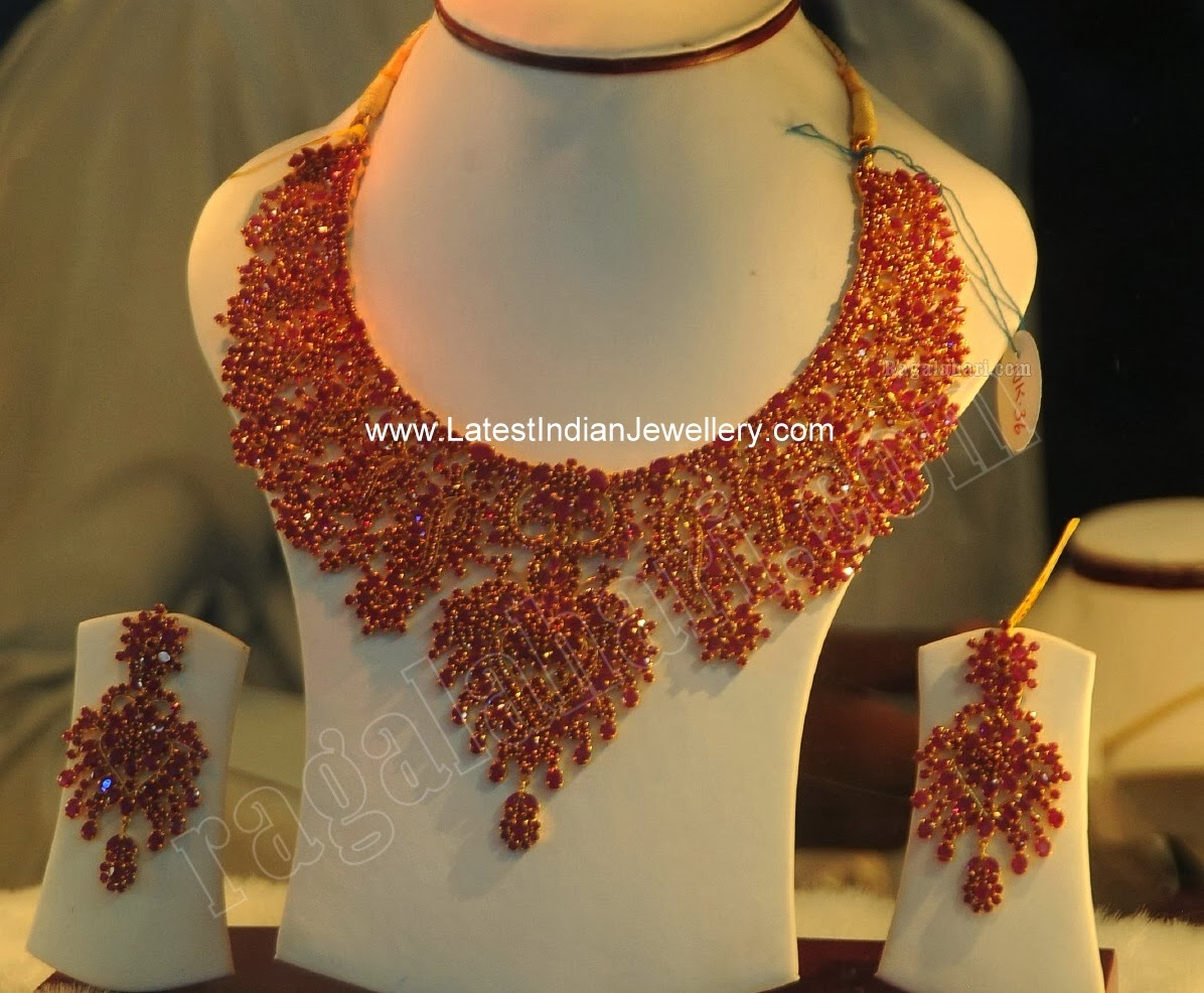 Indian Ruby Bridal Necklace Set