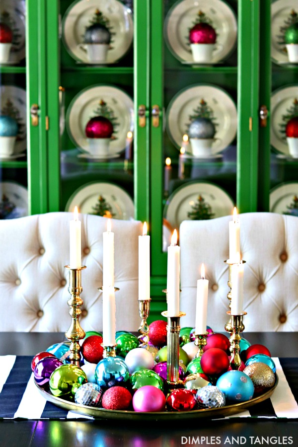jewel tone ornaments, christmas centerpiece, dining room table centerpiece, brass tray