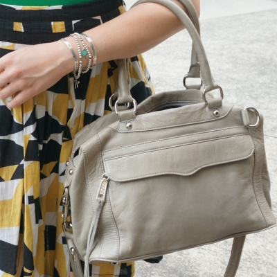 printed skirt, Rebecca Minkoff MAB mini in soft grey | AwayFromTheBlue