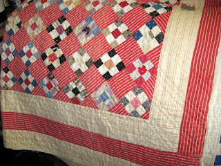 Vintage 9-patch quilt set on point with alternate setting blocks
