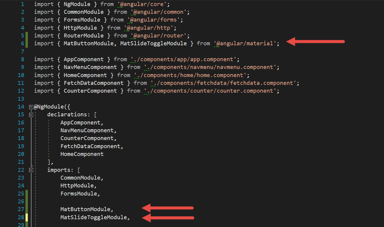 Adding Angular Material in ASP NET Core Angular SPA template