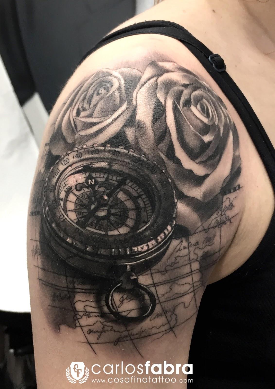 Cosafina Tattoo Carlos Art Studio Tatuaje Brujula Mapa Carta De