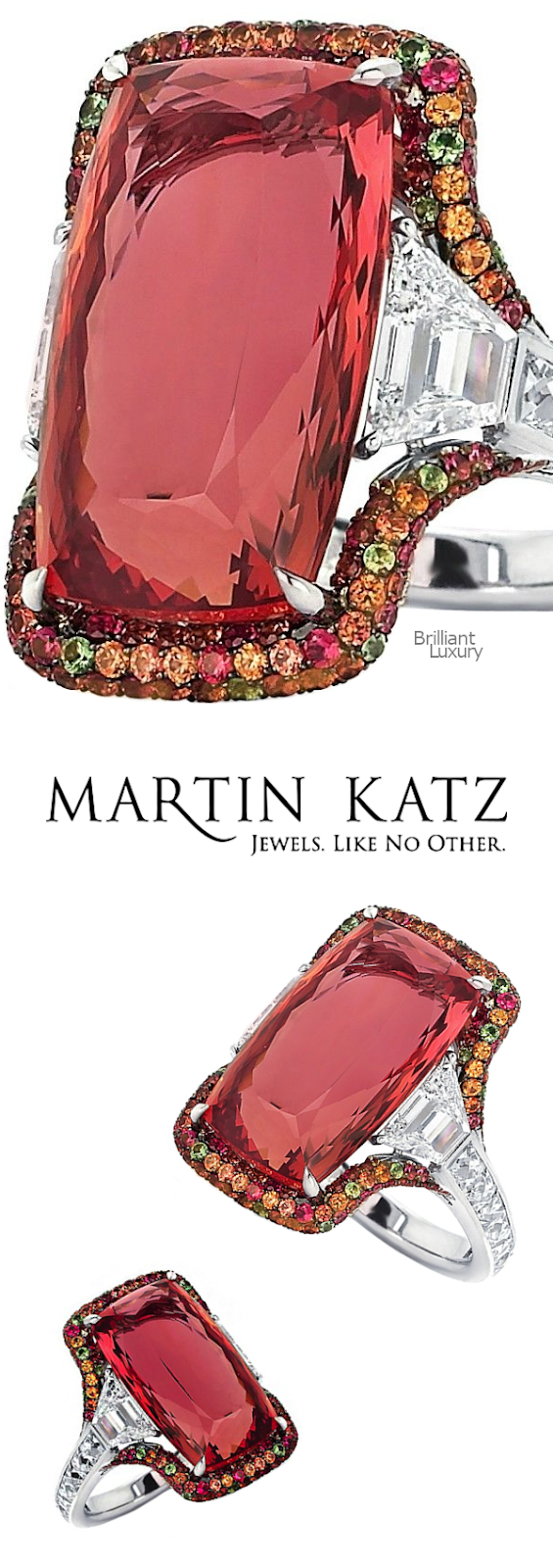Brilliant Luxury♦Martin Katz 18 carat imperial topaz ring with two step-cut trapezoid diamonds and micro-set with diamonds, sapphires, tsavorite garnets and tourmalines