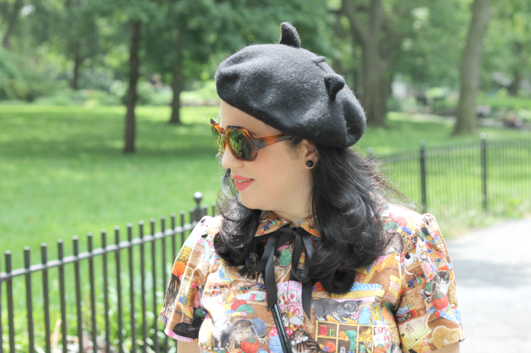 A Vintage Nerd, Bernie Dexter Cat Dress, Retro Cat Print Dress, New York Fashion Blogger
