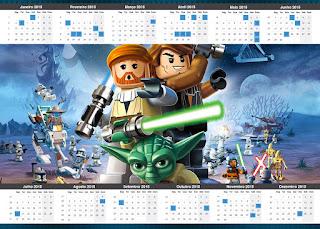 Calendario 2015 para imprimir gratis de Star Wars Lego,
