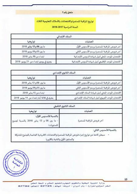 تواريخ ومواعيد مهمة بالمقررالوزاري لتنظيم السنة الدراسية 2017/2018