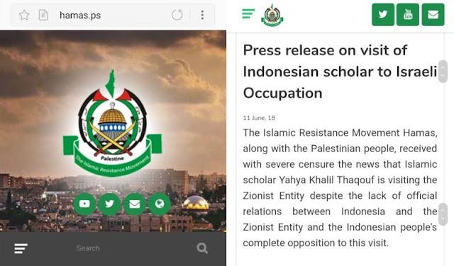 Pers Rilis HAMAS: Rakyat Palestina Mengutuk Keras Kehadiran Yahya Cholil Staquf ke Israel