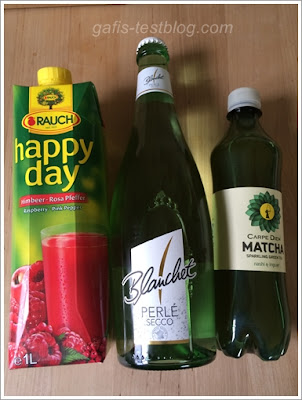 Rauch, Happy Day Himbeer-Rosa Pfeffer, Blanchet Perlé Secco, Carpe Diem Matcha Sparkling Green Tea