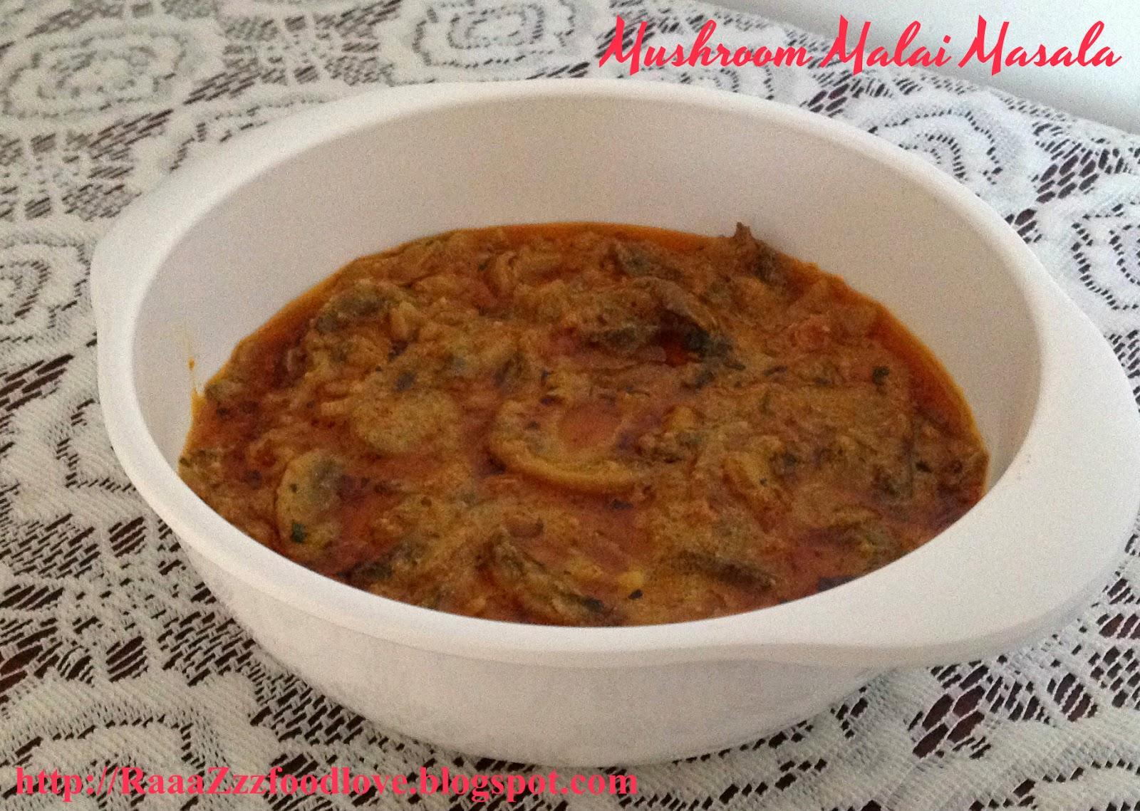 mushroom malai masala