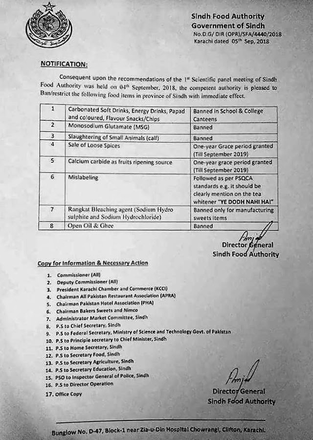 BAN ON FOOD ITEMS IN THE PROVINCE OF SINDH BY SINDH FOOD AUTHORITY