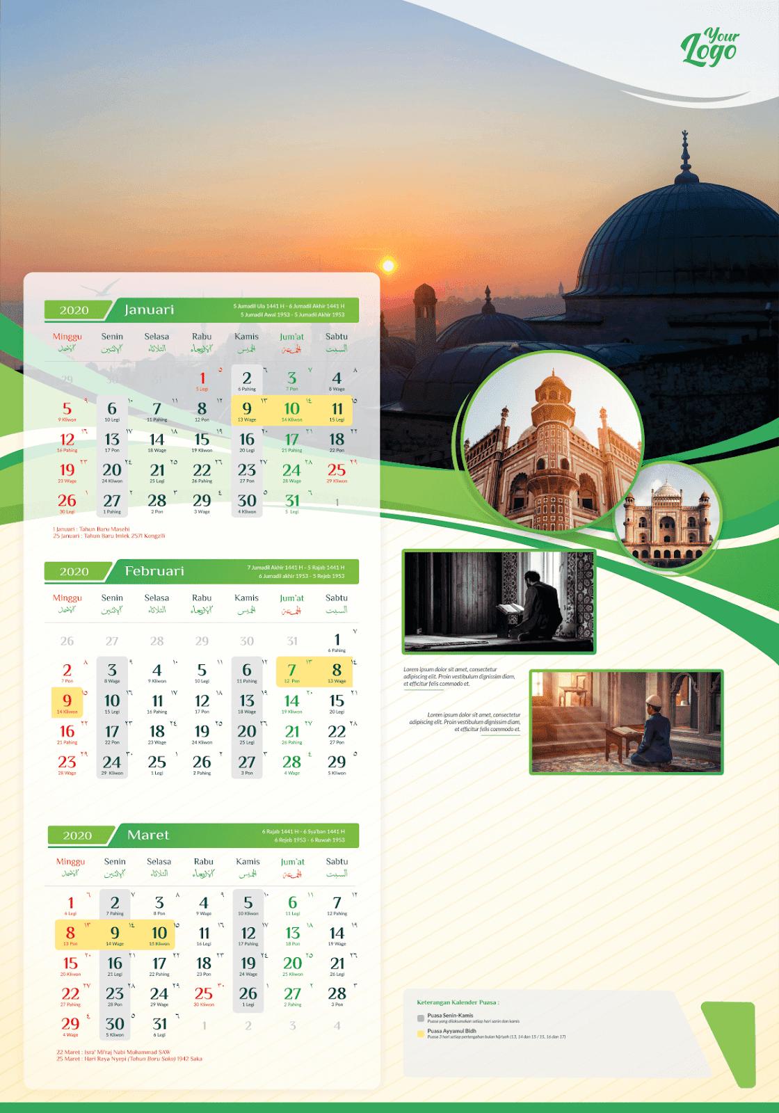 Download Template Kalender 2020 PDF CDR Lengkap dengan Kalender Jawa, Hijriyah dan Puasa