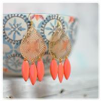 boucles d'oreilles gouttes dorées orange