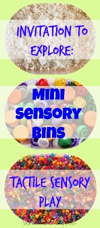Set up simple Invitations to Explore with Mini Sensory Bins.  So many ways to fill storage bins for open ended play!