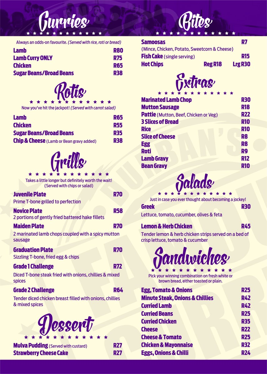 Hollywood Bunny Bar Menu - Pg 2 - Curries, Rotis, Grills, Bites, Salads, Desserts