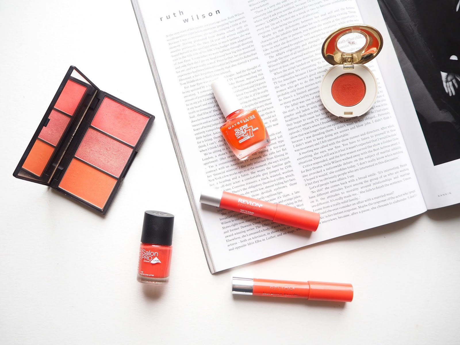 All About Orange, orange makeup, blush, lipstick, eyeshadow, nail polish, sleek lace, rimmel happily evie after, rimmel audacious, rimmel rendezvous, maybelline orange punch, review