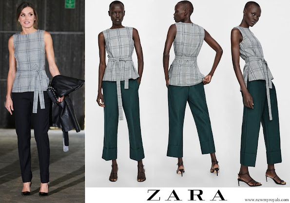 Queen Letizia wore Zara checked top with bow