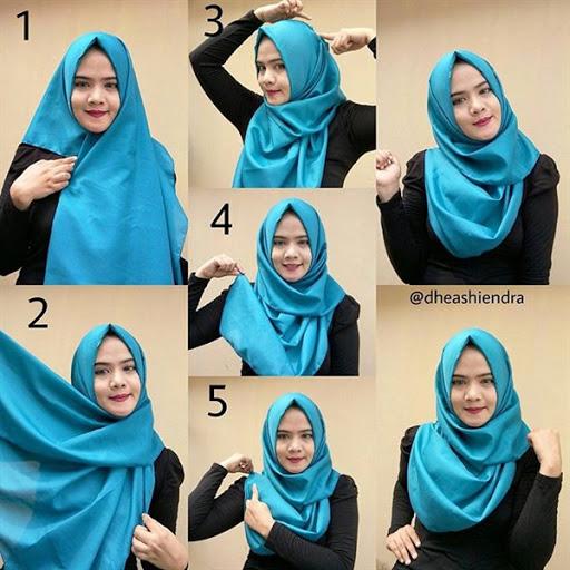 contoh model tutorial hijab pashmina wajah bulat terbaru 2017/2018