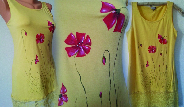 Yellow Hand Painted Dress For Summer