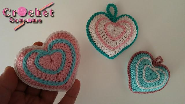 كروشيه قلب مجسم . كروشيه قلب  .  كروشيه قلب   Saint Valentin .  Crochet heart  .  How to crochet a heart