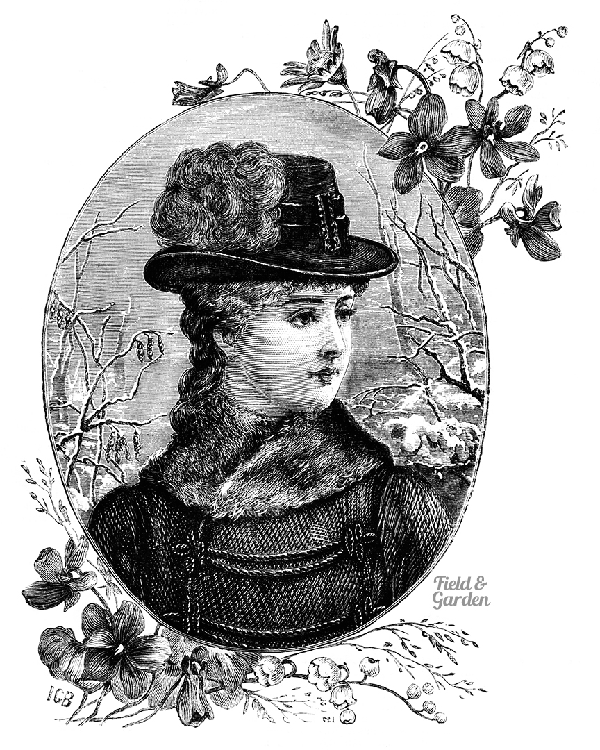 field garden free victorian clipart for crafts walk journal scrapbooking or card making portrait of a victorian girl in winter [ 864 x 1080 Pixel ]