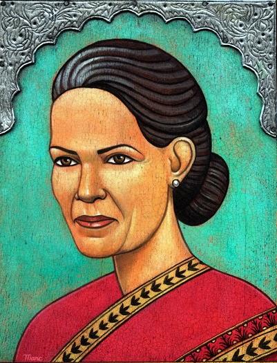 Sonia Gandhi - Grandes personalidades pintada por Marc Burckhardt