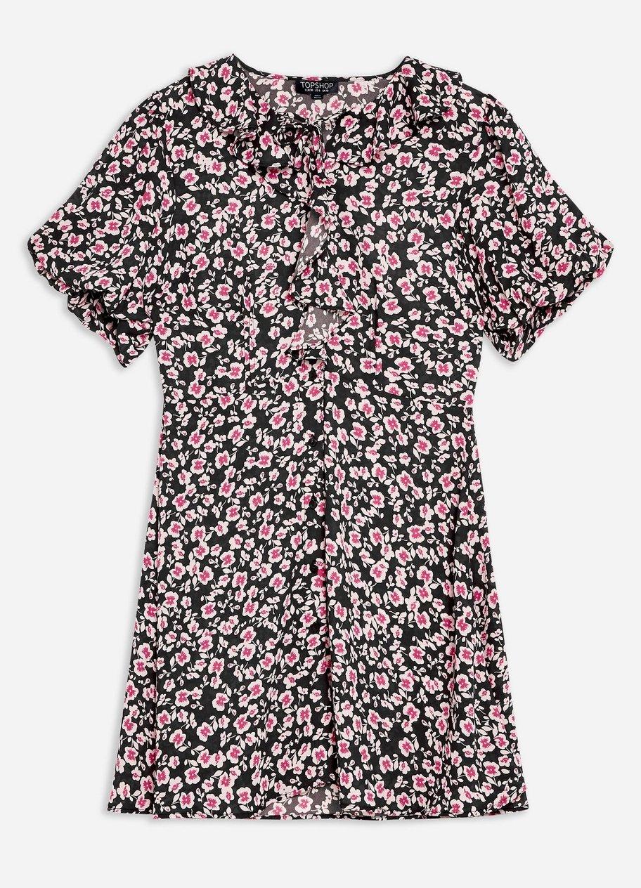 Gerüschtes Tea-Dress mit feinem Print von Topshop