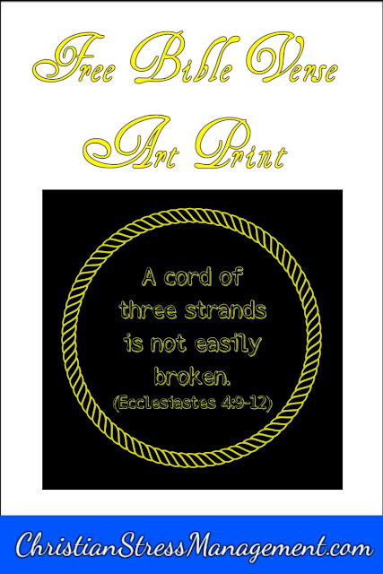 A cord of three strands is not easily broken Bible verse art print.
