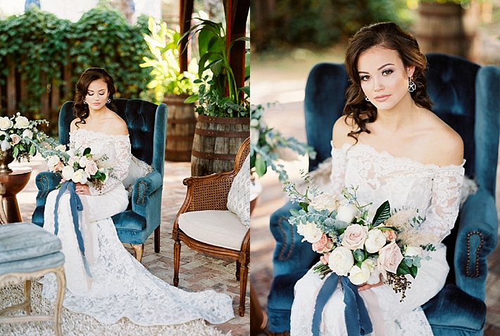 Bride holding a beautiful bouquet wearing an off the shoulder lace wedding gown | Photo by Dennis Roy Coronel | See more on thesocalbride.com