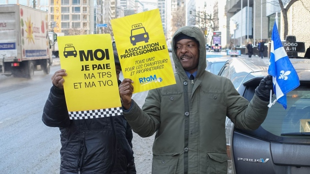 Taxi Drivers Protest Against Uber in Montreal