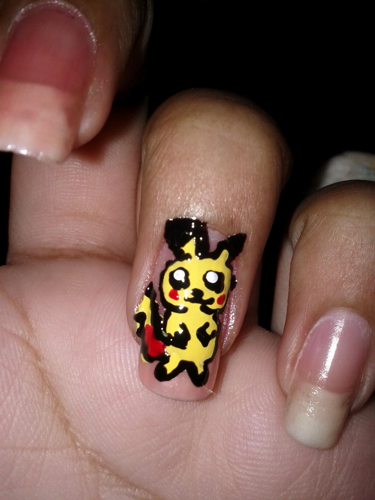 Nail Designs/Art: yellow cartoon animal ( pikachu look alike)