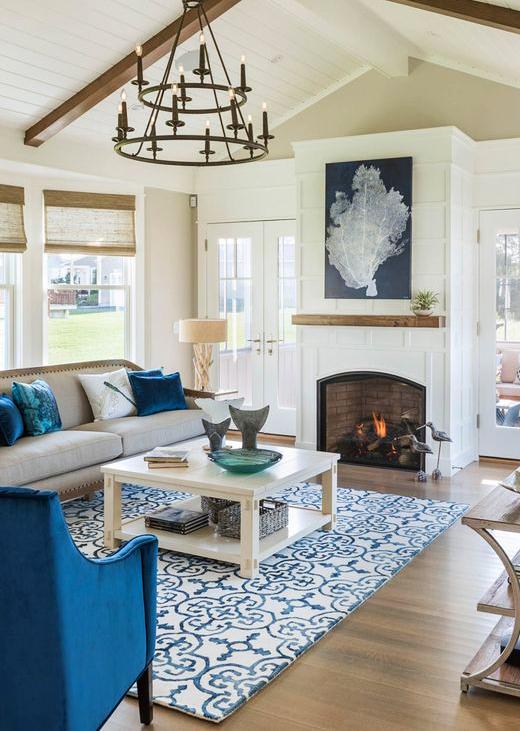 Large Blue Coastal Sea Fan Art Living Room above Fireplace Idea